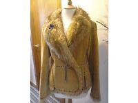 Ladies Leather Fur Trimmed Jacket