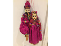 Topsy Turvy Indian Raj Sari Dolls Male and Female hand-painted Wooden Head