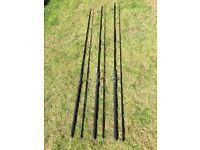 Three wychwood cabon carp rods