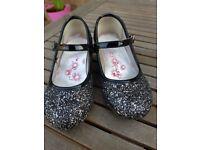 Girls Black & Silver Sparkle shoes - size 9