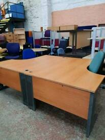 Beech effect curved desks delivery available