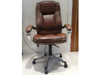Chestnut Brown Bonded Leather Office Chair, Chrome Frame – Swivel & Fully Adjustable – Preowned