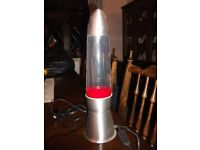 Lava lamp Bubble display in Red - 17 inches high 4 inches diameter aluminium base lovely condition