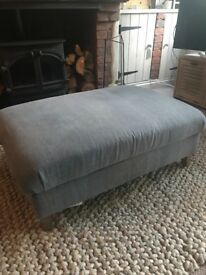 Rectangle Loaf 'Legsie' footstool in Blue Storm Washed Cotton Linen. Beautiful condition. RRP £445
