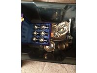BOX OF SILVER PLATED ITEMS AND 6 E.P.N.S GOBLETS