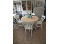 Shabby chic solid pine dining table with 4 chairs