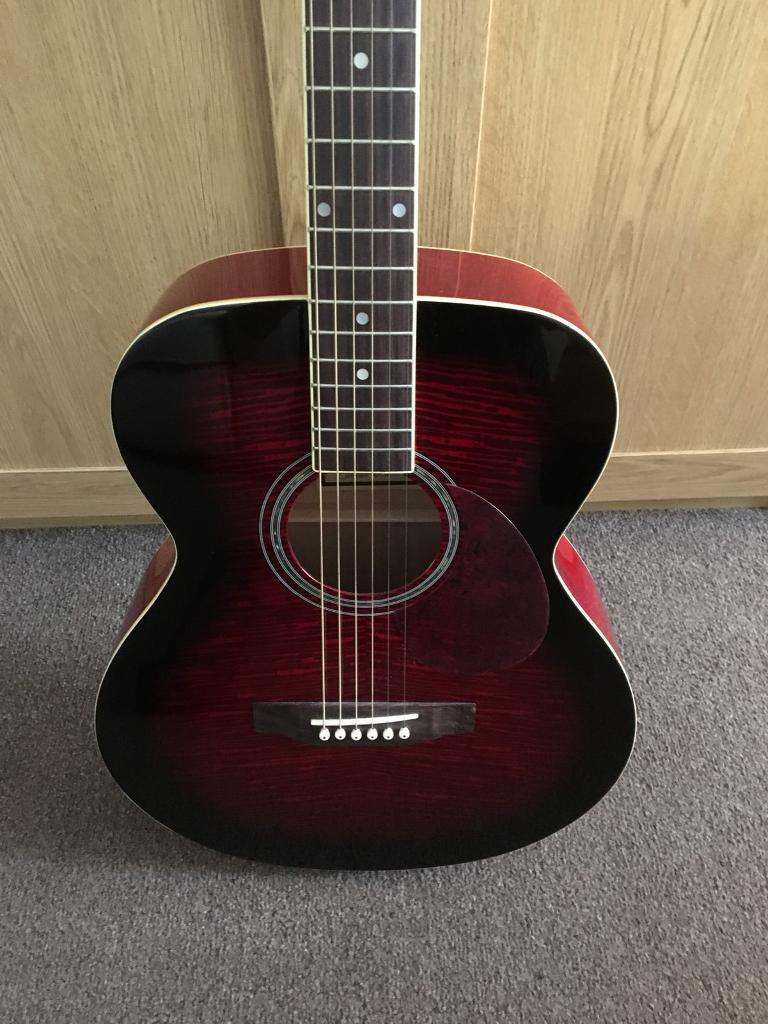 Freshman RENDWR acoustic guitar including case and music stand
