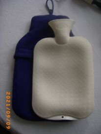 Rubber Hot water Bottle with blue fleece cover Bristol (Oldland Common)