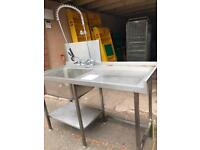 Stainless Steel Sink Table with Pre Wash Tap and Shelf