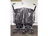 Double Buggy (Silver Cross) with 2 x Cosie Toes and Rain Cover