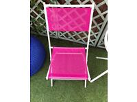 Pair of hot pink garden chairs