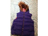 Girls 11-12yr bodywarmer (small fitting so may be more 10-11yr), fur lined hood, good condition
