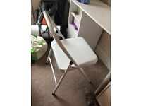 Habitat Macadam white metal folding chair, used