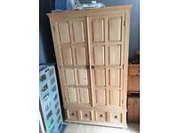 Large solid wood pine wardrobe