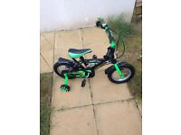 12 inch green kids bike with parent handle