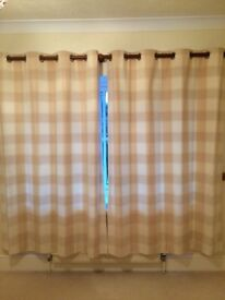 Pair of curtains, eyelit, beige cheque, excellent condition.