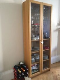 Glass Door Cabinet - Oak veneer/glass £50