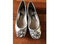 Next silver ballerina pumps - size 5