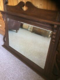 2 lovely Mirrors ,1 a bevelled modern screw direct to wall , also Antique beautiful wood framed