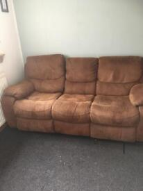 2 x brown 3-seater recliners