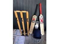 Cricket Gear - Used youth cricket bats, stumps, helmet and arm guard