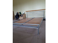King Size Metal & Beech Bed Frame