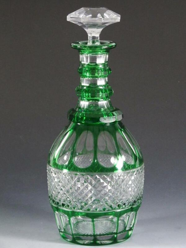 St Louis Crystal TRIANON Green Cut to Clear Decanter