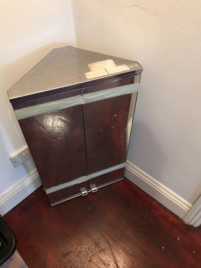 Stainless Steel Corner Cabinet With 2 Mirror Doors