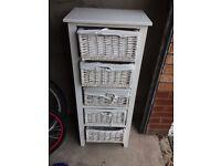 Next white 5 wicker basket storage unit