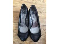 Black ladies size 6 court shoes wedge heel