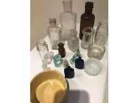 Collection of old bottles and stoppers