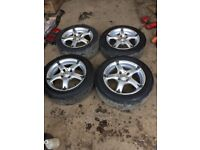 Genuine BK Racing 4x100 set of alloy wheels and tyres