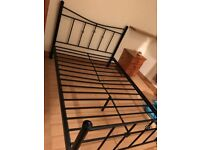 Double black metal bed frame, selling due to moving house