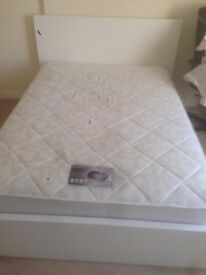 Excellent conditions king size mattress and white bed frame