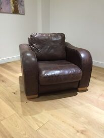 John Lewis Brown Antique Leather 3 person Sofa and matching Armchair