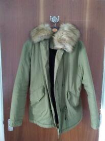 Boohoo Green parka coat size 8