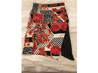 River Island Black, White and Red Floral Skirt