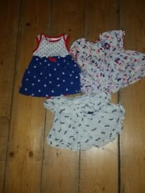 3 X dresses 0-3 months girls