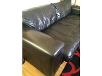 DFS REAL LEATHER BLACK SOFA