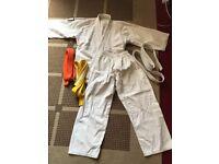 Jujitsu Gi, White, yellow & orange belts included.