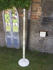 Wooden shabby chic floor lamp
