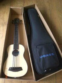 Electric fretless bass ukelele by Kala - solid spruce top, boxed