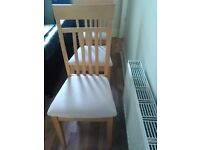 Chairs / 4 dining chairs / wood and suede