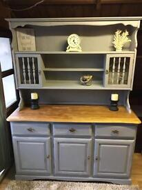 Grey distressed and floral dresser