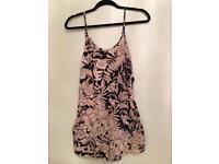 H&M black and light pink flower/ leaf print playsuit. Size 6.