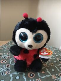 Ty Beanie Boos Boo - Bugsy Ladybug Ladybird Bug Soft Plush Stuffed Teddy Toy