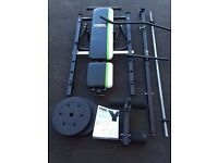 York Fitness Multifunction Bench - Warrior Ultimate + Barbell and Weights
