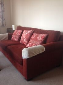 As new 3 seater sofa and chair