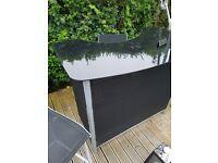 Garden swing chair & bar 2 stools glass top