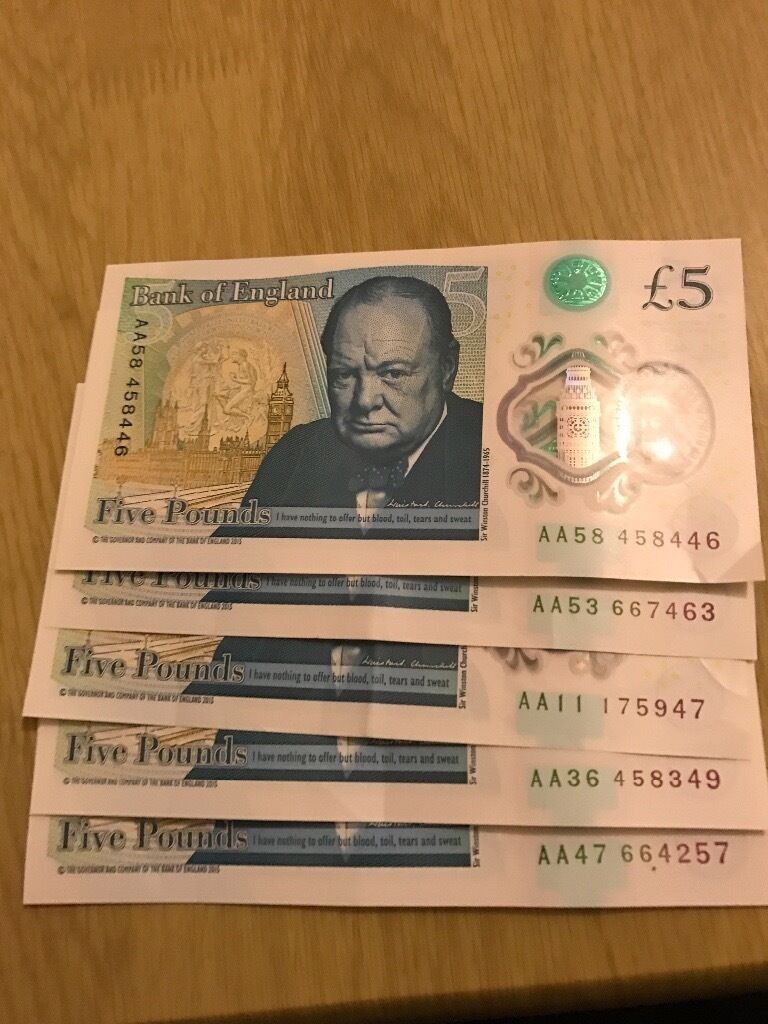 5 AA £5 notes for 100 (rare)